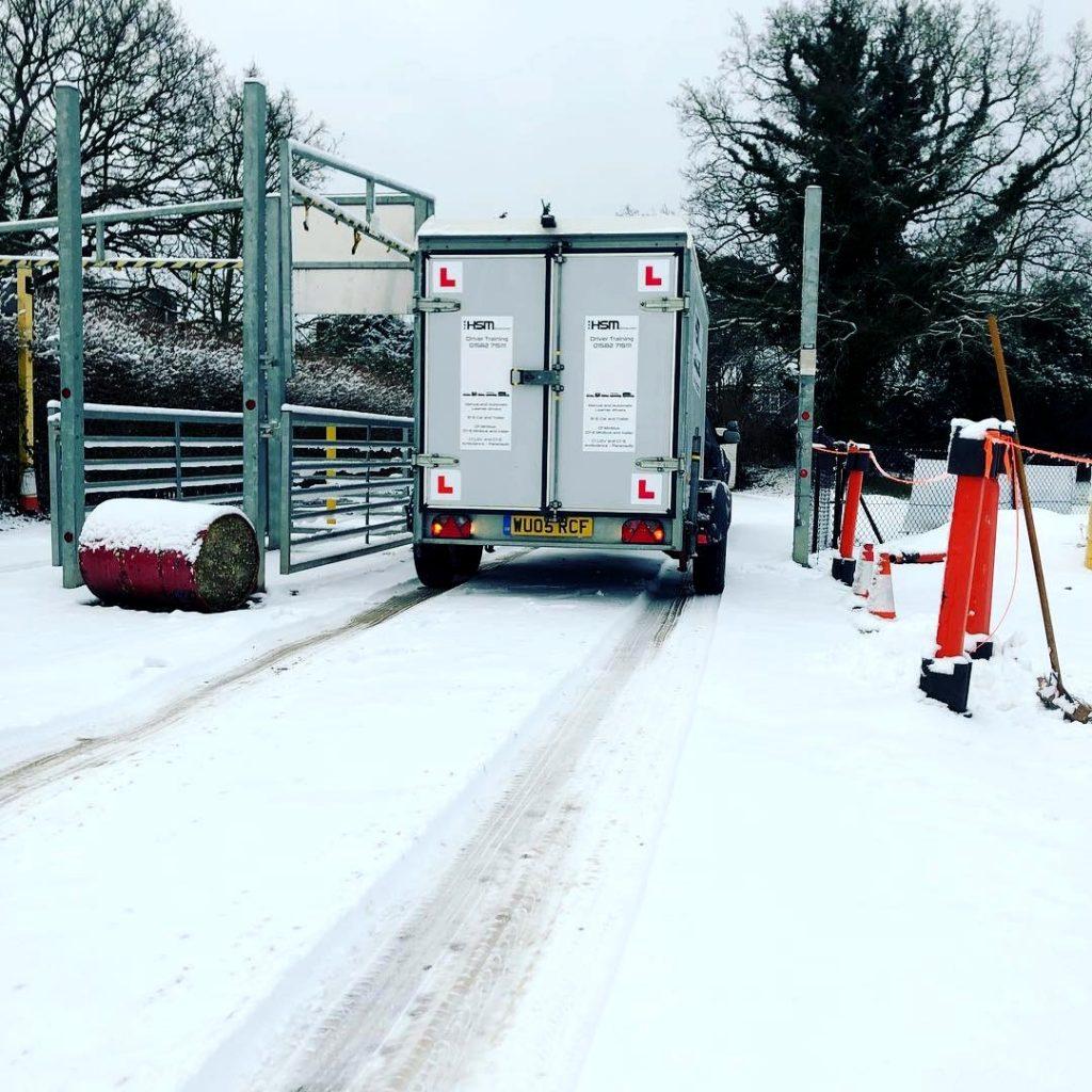 B+E trailer training snowy HSM driving training